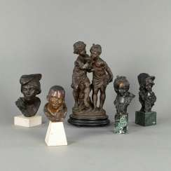 Four busts and a pair of children