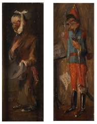 Pair of paintings: soldier and beggar