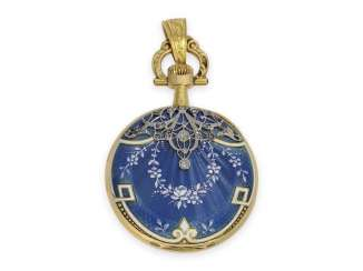 Pocket watch/Anhängeuhr: extremely rare Omega Gold/enamel/platinum ladies watch with diamonds, Art Nouveau, CA. 1900