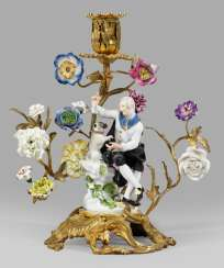 The magnificent candelabra with Meissen pug group