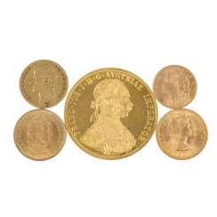 Gold solder approx. 35 g of a fine, consisting of 5 coins as follows: