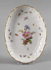 Meissen oval bowl with insects painting