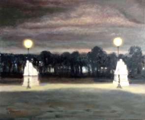 Dark night in Tuileries garden, Paris.