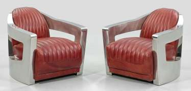 Pair of club chairs in Art Deco style