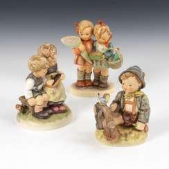 3 HUMMEL figurines: children couple with shopping, children couple with Slate,