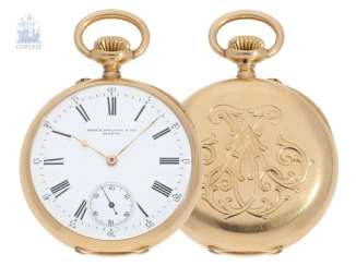 Pocket watch: extremely rare Patek Philippe Pocket chronometer with unusual factory building, No. 70279, CA. 1883