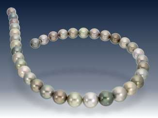 Chain/necklace: delicate Multicolour Tahitian cultured clasp pearl necklace with Nittel, as new from the jeweler resolution, top quality, NP 7200,-€
