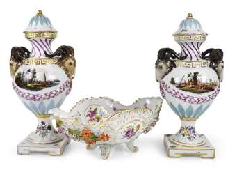 Pair Of Vases With Rams ' Heads,