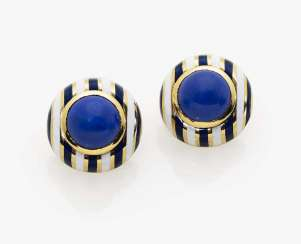 A pair of cufflinks with lapis lazuli and enamel