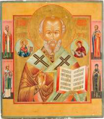 VERY FINE AND LARGE-FORMAT ICON WITH ST. NICHOLAS OF MYRA