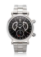 VAN CLEEF & ARPELS, STEEL DUAL-TIME ALARM WITH RETROGRADE DATE, REF. 550094