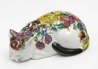 Katze 'Cat with flowered advocates', Piero Fornasetti, Mailand, 1960/70 Jahre