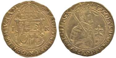 ENGLAND 1 1605-1609 UNITE James I, the fifth portrait KM 47, Spink 2620 gold 10-016-50