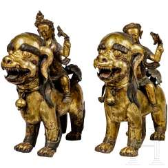 A Pair of Foo lions with heavenly horsemen, sino-Tibetan, 18. Century