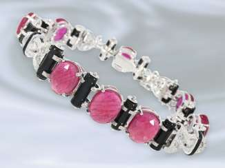 Bracelet: unusual, decorative, Designer bracelet in the Art Deco style, rich diamond/color stone trim, mint