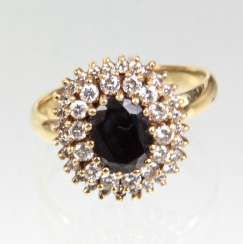 Saphir Brillant Ring - Gelbgold 585