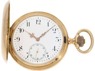 Pocket watch: very beautiful and solid 14K rose gold IWC Savonnette, from the year 1902