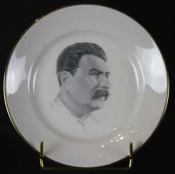 Plate with a portrait of Stalin, Dulevo, N. Bobkov, 1940
