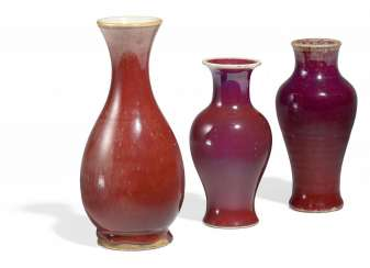 Two vases with dark red glaze