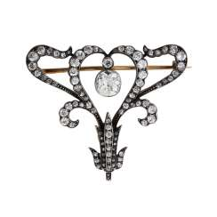 Brooch/necklace middle part of the early art Nouveau style with diamonds together approx 2.6 ct,