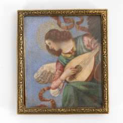 Ivory miniature: angel with Lute