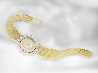 Wrist watch: very decorative, high-quality vintage jewelery watch with diamonds, probably from the 1960s, signed Meister - Omega