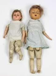 2 dolls with leather bellows