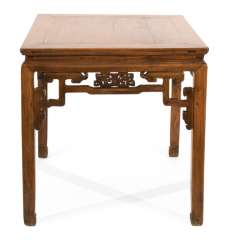 Square hardwood table with volute-shaped frame