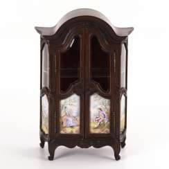 Viennese miniature showcase with painted enamel panels