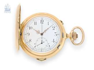 Pocket watch: an exceptionally large and heavy Gold Savonnette with Repetition and Chronograph, Nestor Delevaux, La Chaux-de-Fonds, 1900