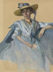 German painter around 1900: Art Nouveau lady with a large hat