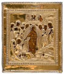Icon of the Anastasis with a gold-plated Silberoklad