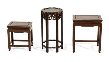 Three side tables made of hard wood