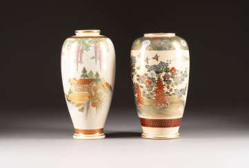 TWO SATSUMA VASES Japan