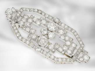 Brooch/needle: interesting Art-Deco brooch with old European cut diamonds, total approx 2.5 ct, platinum