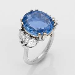Representative untreated sapphire and diamond ring