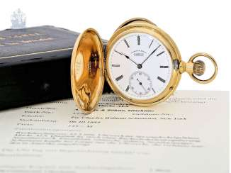 Pocket watch: early, very heavy A. Lange & Söhne Glashütte gold savonnette in quality 1A, a glass factory in 1884, with Box and stem-excerpt from the book