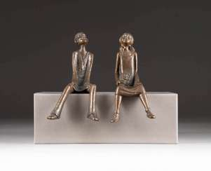 MODERN image sculptor Active in the 2. Half of the 20th century. Century. THE RENDEZVOUS (SEAT END PAIR)