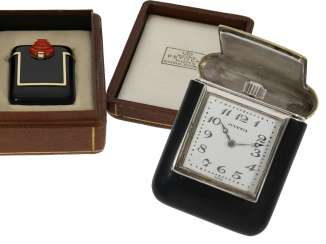 Pocket watch/travel clock: exceptionally beautiful Art Deco carriage clock with enamel case and original box, Studio Juvenia for jewelry Petochi Rome, 30 years