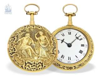Pocket watch: a magnificent, Museum-like, double-enclosure-repair, replace-Spindeluhr of outstanding quality, 1/8 Repetition, Charles Cabrier, London, around 1730