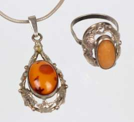 Amber ring and pendant
