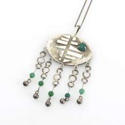 Pendant with green agates on a chain