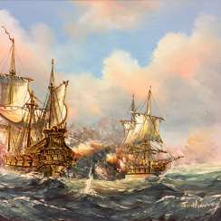S. Haney: sailing ships / frigates in combat, naval combat. Oil on canvas, in ornate frame, very good.