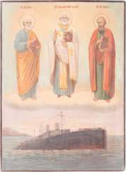 RARE AND LARGE ICON OF THE APOSTLES PETER AND PAUL, AND THE SAINTS NICHOLAS OF MYRA, THE SHIP PETROPAVLOVSK