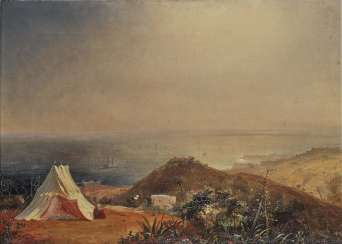 Unknown - Oriental coastal landscape with a tent, 19th century