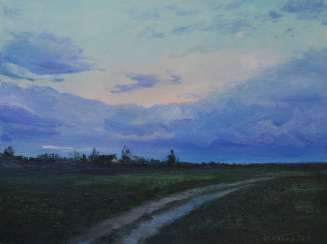Original landscape painting oil on canvas, Evening in the field