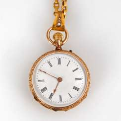Golden ladies pocket watch on a gold chain.