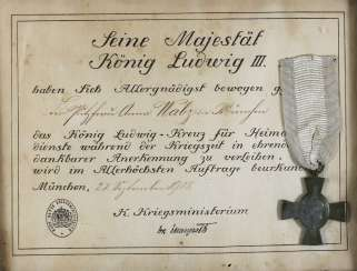 King Ludwig cross with a certificate of recognition for Home service during the war time in Sütterlin: the cleaning lady Anna Walz in Munich