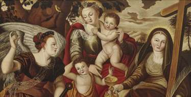 Mary with child and John the boys ' and the personifications of hope and faith (The three Christian virtues)