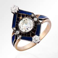 A ring of gold with a diamond in blue enamel